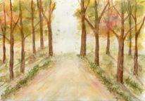 Herbst, Aquarellmalerei, Wald, Baum