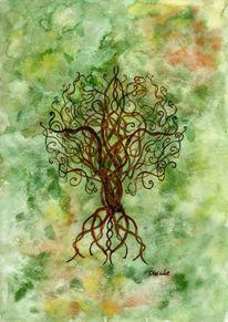 Keltisch, Bunt, Baum, Keltischerbaum