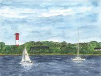 Aquarellmalerei, Flensburgerförde, Leuchtturm, Segel
