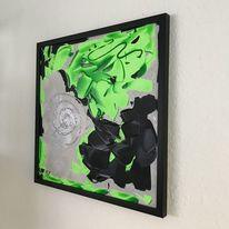 Mischtechnik, Hellgrün, Bildeffekte, Abstrakt