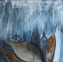Krug krüge blau, Mischtechnik, Abstrakt, Malerei