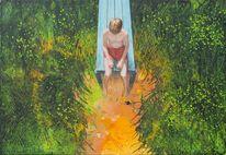 Nachdenklich, Expressionismus, Landschaftsmalerei, Stille