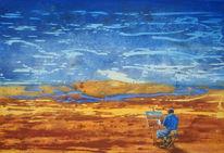 Stille, Nachdenklich, Staffelei, Landschaftsmalerei