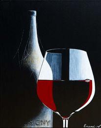 Weinglas, Wein, Weinflasche, Acrylmalerei