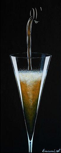 Acrylmalerei, Wein, Sekt, Champagner