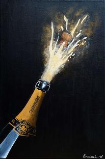 Champagner, Champagnerflasche, Schwarz, Sekt
