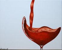 Luxus, Wein, Rot, Acrylmalerei