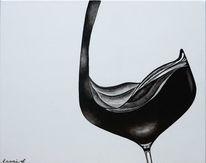 Acrylmalerei, Luxus, Fest, Rotwein
