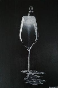 Acrylmalerei, Sekt, Stillleben, Weinflasche