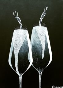 Schwarz, Acrylmalerei, Sekt, Champagner