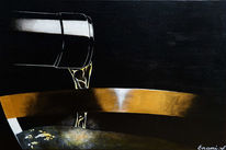 Schwarz, Weinglas, Acrylmalerei, Sekt