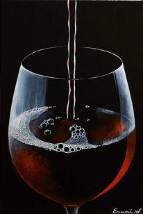Wein, Schwarz, Weinglas, Acrylmalerei