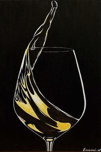 Weißwein, Acrylmalerei, Weinglas, Schwarz