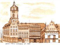 Kirche, Markt, Jena, Historische stadtansicht