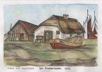Will haunschild, Ostsee, Reet, Aquarell