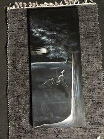 Nacht, Baum, Skelett, Acrylmalerei