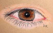 Augen, Zeichnung, Grau, Braun