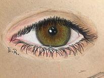 Braun, Grün, Augen, Zeichnung
