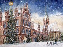 Rathäuser, Weihnachten, Kirche, Winter