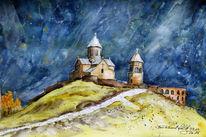 Einsamkeit, Kirche, Felsen, Kaukasus