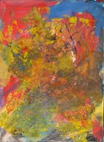 Malerei, Abstrakter expressionismus, Abstrakt, Gelb rot