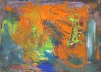Abstrakte malerei, Orange grün blau, Abstrakter expressionismus, Malerei