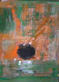 Gouachemalerei, Abstrakter expressionismus, Grün schwarz, Kugel
