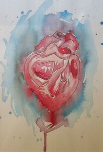 Herz, Medizin, Blau, Aquarell