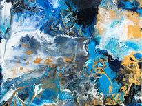 Gold, Blau, Weiß, Abstrakt