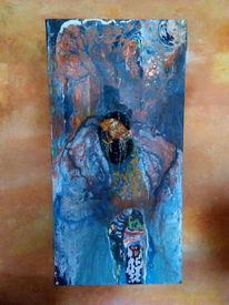 Abstrakt, Malerei, Blau, Mischtechnik
