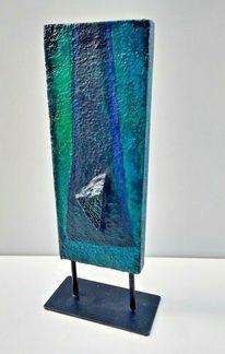 Skulptur, Mischtechnik, Blue island, Steinzeug