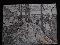 Dorfszene, Zeichnung, Mischtechnik, Zeichnungen
