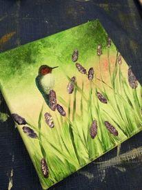 Ölmalerei, Frühling, Blüte, Vogel