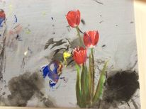 Blumen, Frühling, Tulpen, Malerei