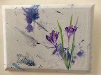 Frühling, Krokus, Blau, Malerei