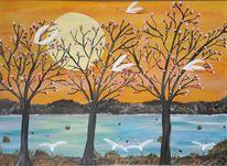 Baum, Wasser, Kranich, Malerei