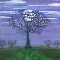 Baum, Wolken, Malerei