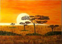 Baum, Sonne, Orange, Malerei