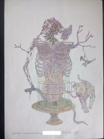 Zeichnung, Tod, Anatomie, Natur