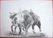Cowboy, Zeichnung, Rind, Pferde