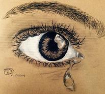 Traurig, Kohlezeichnung, Augen, Weinen