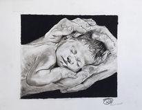 Baby, Kohlezeichnung, Sketching, Natur