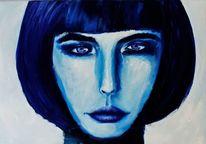 Blau, Gesicht, Frau, Blick
