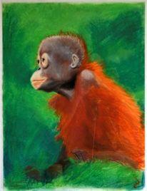 Grün, Affe, Wildes tier, Pastellmalerei