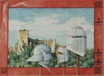 Ritter, Fantasie, Rüstung, Aquarellmalerei