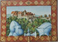 Architektur, Aquarellmalerei, Geschichte, Burg