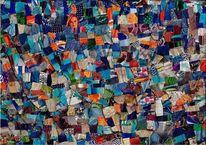 Blau, Musik, Collage, Mischtechnik