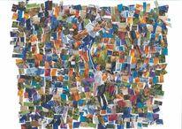 Tanz, Collage, Bunt, Farben