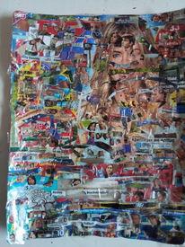 Tv, Bunt, Collage, Punkt