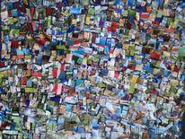 Collage, Bunt, Farben, Mischtechnik